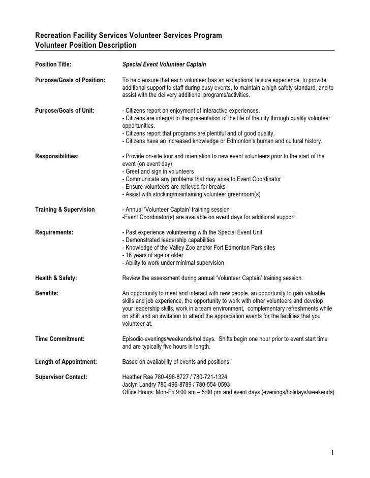 Recreation Facility Services Volunteer Services Program Volunteer Position Description  Position Title:              Speci...