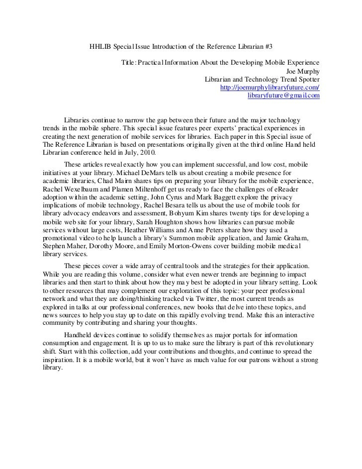 HHLIB Special Issue Introduction of the Reference Librarian #3                            Title: Practical Information Abo...