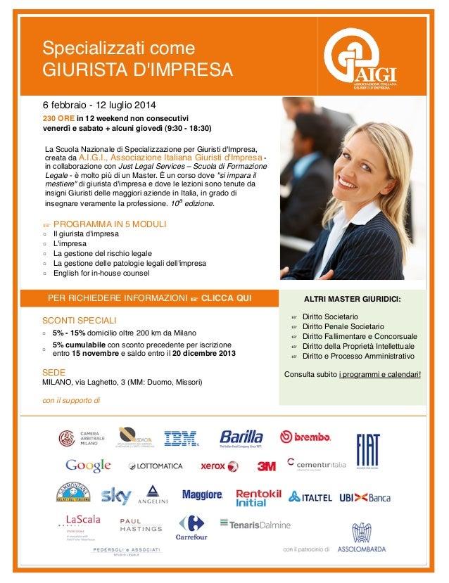 Specializzati come Giurista d'Impresa 2014 - Sconto di 5% con Iscrizione entro 15 Novembre 2013