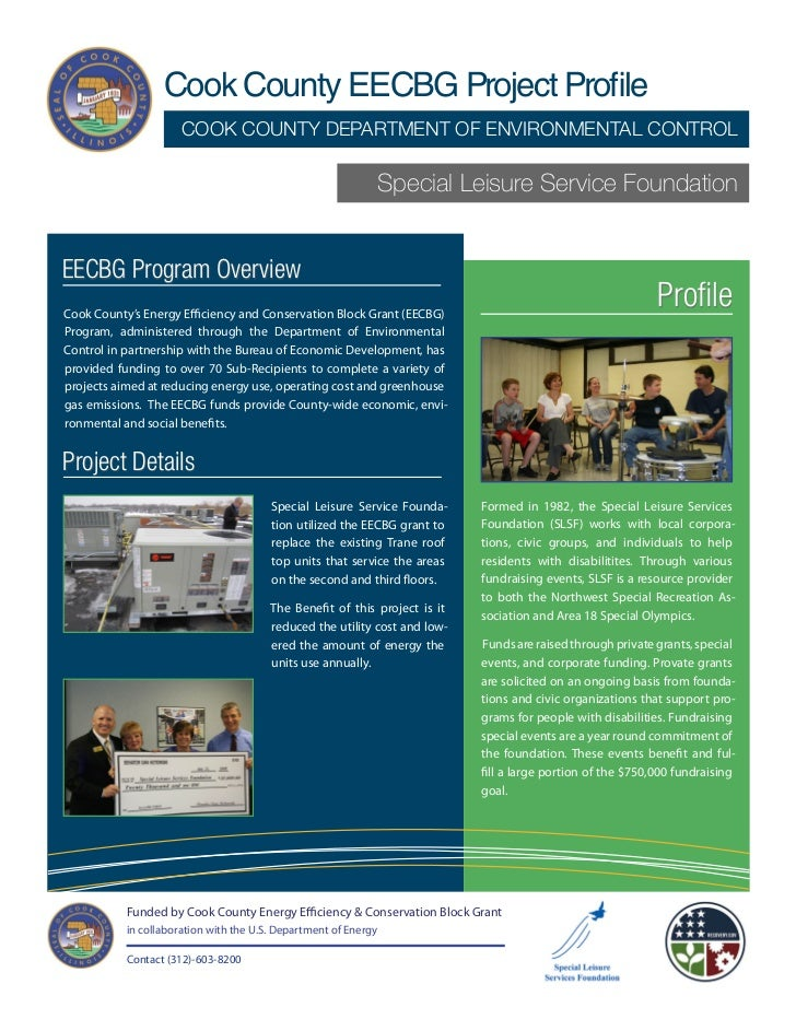 Cook County EECBG Project Profile                      COOK COUNTY DEPARTMENT OF ENVIRONMENTAL CONTROL                    ...