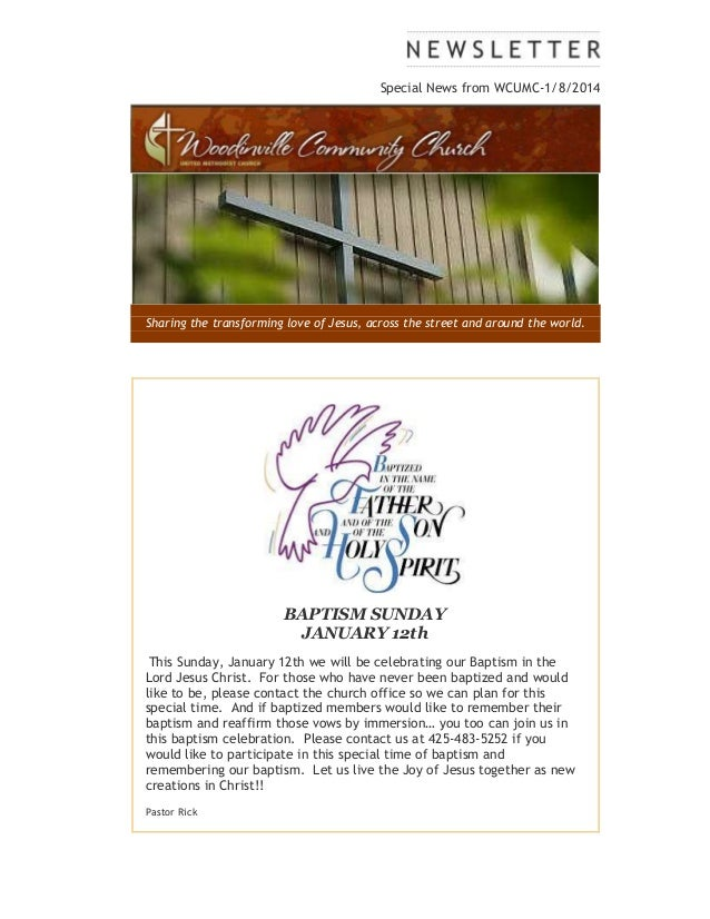 Special news from WCUMC 1-8-2014
