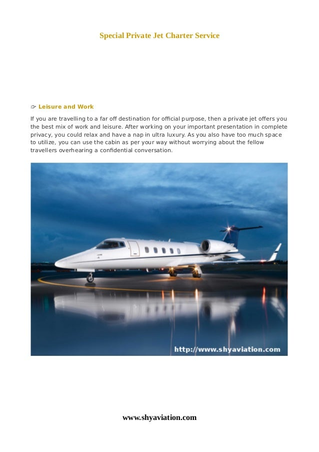 Special Private Jet Charter Service