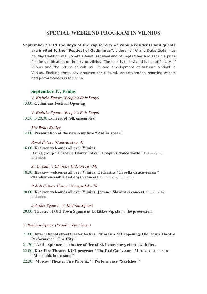 Special programme vilnius