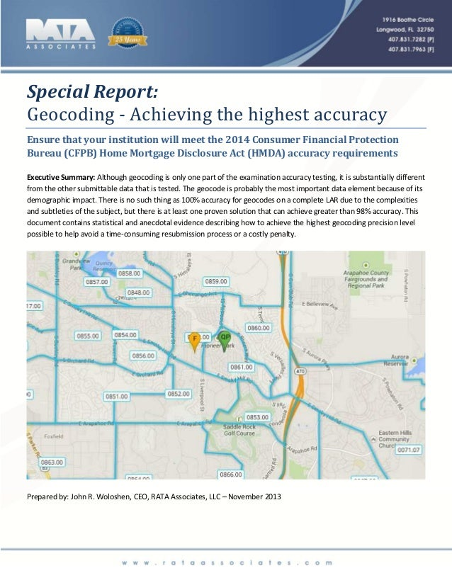 Special Report: Geocoding...achieving the highest accuracy