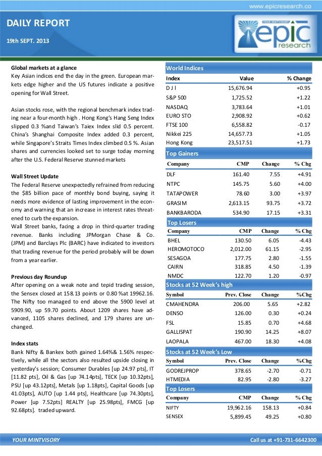 DAILY REPORT 19th SEPT. 2013 YOUR MINTVISORY Call us at +91-731-6642300 Global markets at a glance Key Asian indices end t...