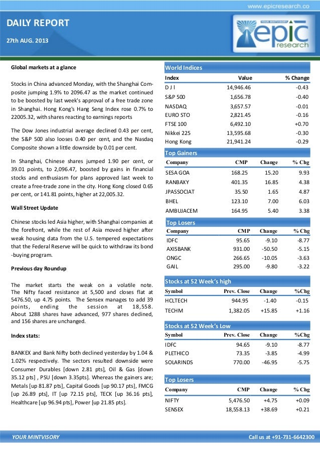 DAILY REPORT 27th AUG. 2013 YOUR MINTVISORY Call us at +91-731-6642300 Global markets at a glance Stocks in China advanced...