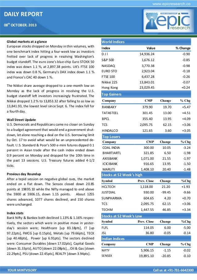 DAILY REPORT 08th OCTOBER. 2013 YOUR MINTVISORY Call us at +91-731-6642300 Global markets at a glance European stocks drop...