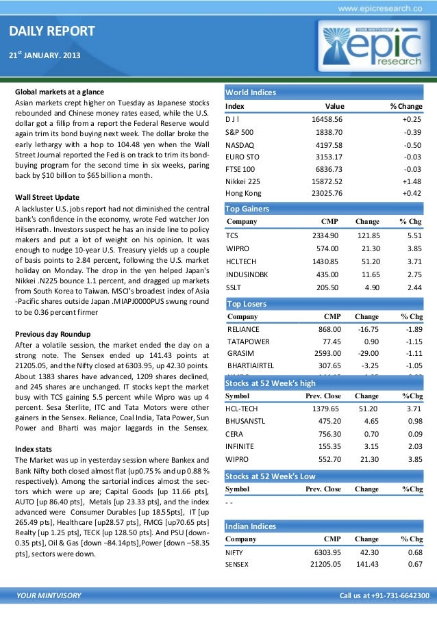 DAILY REPORT 21st JANUARY. 2013  Global markets at a glance Asian markets crept higher on Tuesday as Japanese stocks rebou...