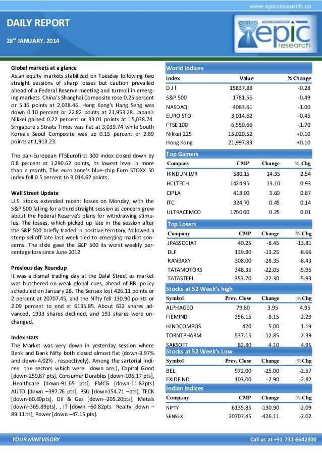 DAILY REPORT 28st JANUARY. 2014  Global markets at a glance Asian equity markets stabilized on Tuesday following two strai...