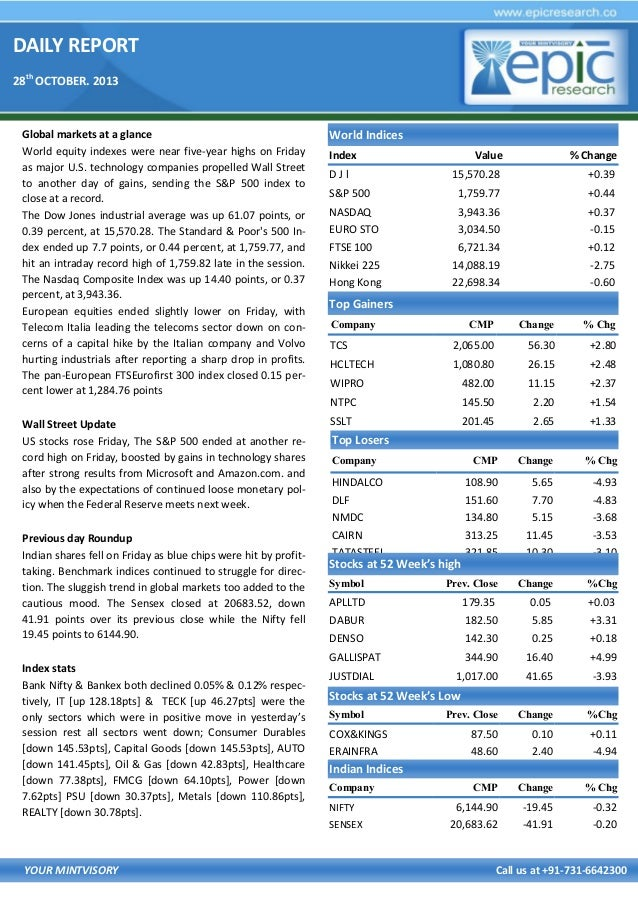 DAILY REPORT 28th OCTOBER. 2013  Global markets at a glance World equity indexes were near five-year highs on Friday as ma...