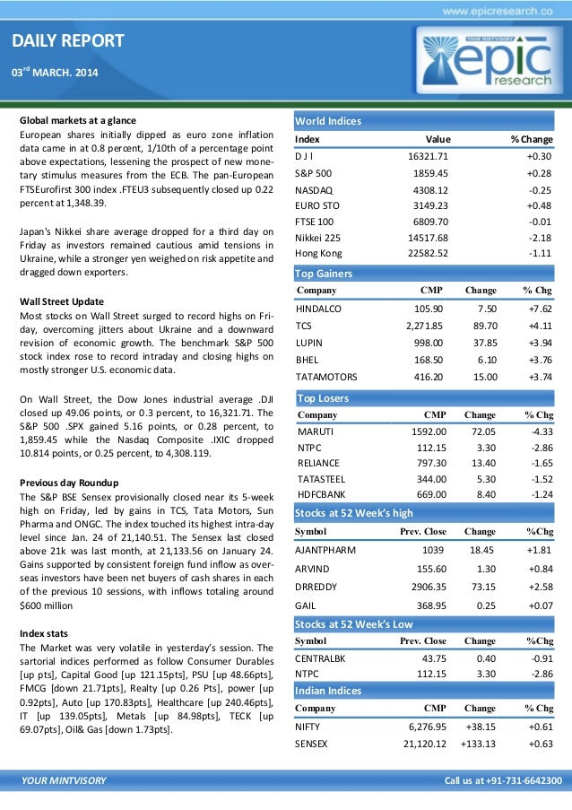 DAILY REPORT 03rd MARCH. 2014  Global markets at a glance European shares initially dipped as euro zone inflation data cam...