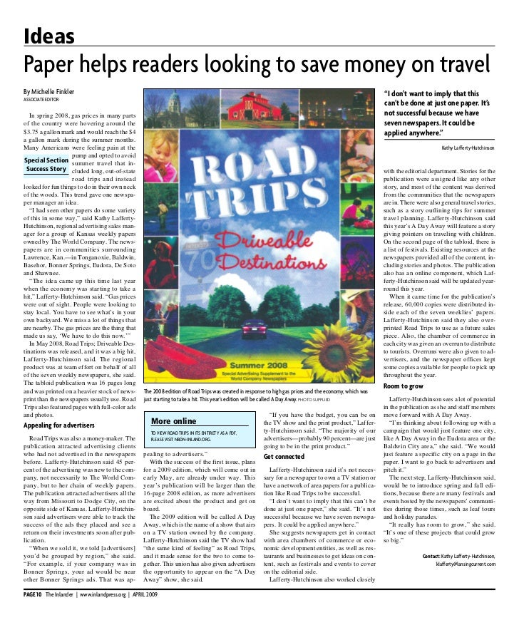 IdeasPap er help s read ers looking to save money on travelBy Michelle Finkler                                            ...