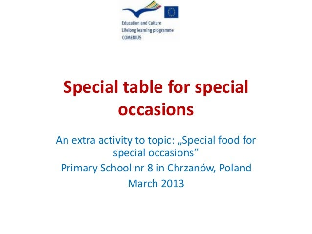 "Special table for special occasions An extra activity to topic: ""Special food for special occasions"" Primary School nr 8 i..."
