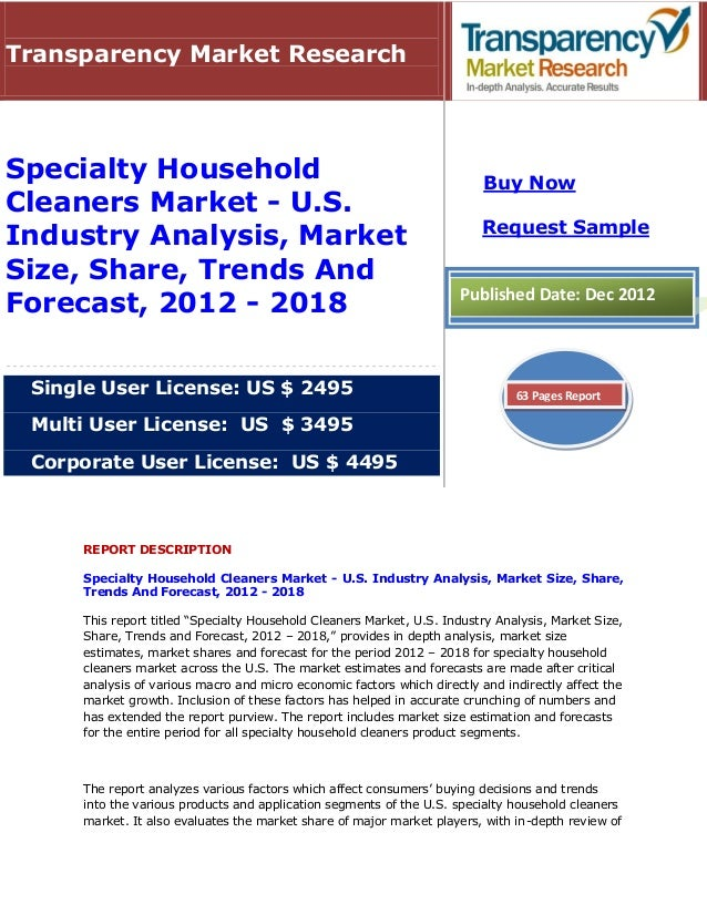 Specialty Household Cleaners Market - U.S. Industry Analysis, Market Size, Share, Trends And Forecast, 2012 - 2018