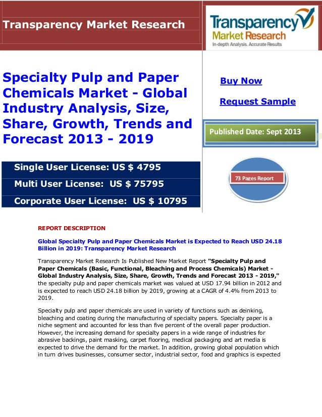 REPORT DESCRIPTION Global Specialty Pulp and Paper Chemicals Market is Expected to Reach USD 24.18 Billion in 2019: Transp...