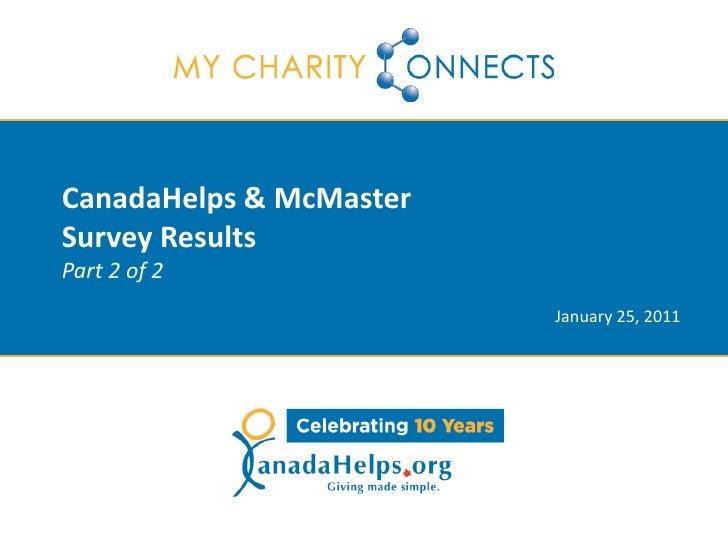 Special Webinar: CanadaHelps & McMaster Survey Results - Part 2 of 2