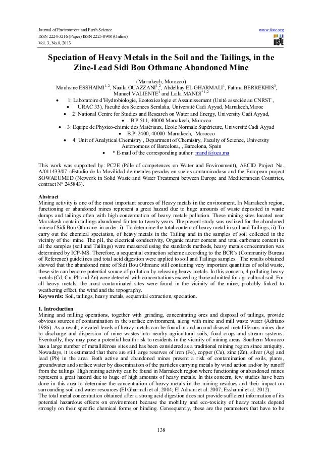 Journal of Environment and Earth Science www.iiste.org ISSN 2224-3216 (Paper) ISSN 2225-0948 (Online) Vol. 3, No.8, 2013 1...