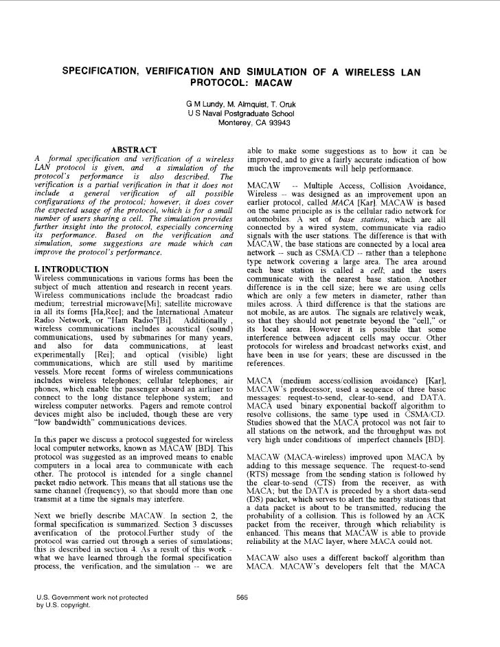 SPECIFICA'TION, VERIFICATION AND SIMULATION OF A WIRELESS LAN                                PROTOCOL: MACAW              ...
