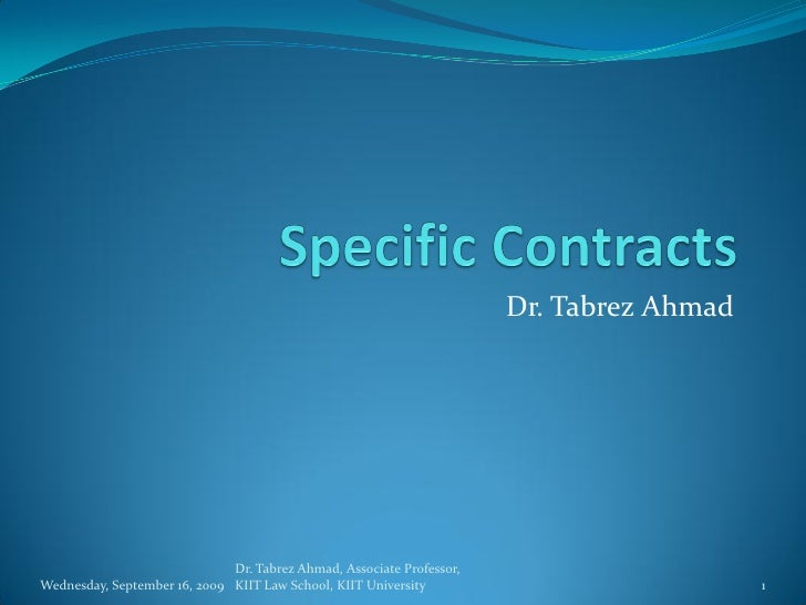 Specific Contracts