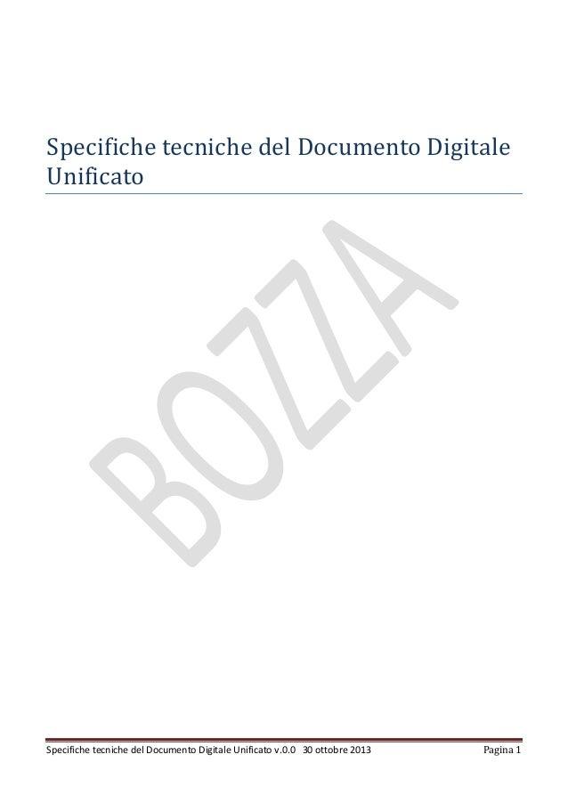 Specifiche tecniche del Documento Digitale Unificato  Specifiche tecniche del Documento Digitale Unificato v.0.0 30 ottobr...
