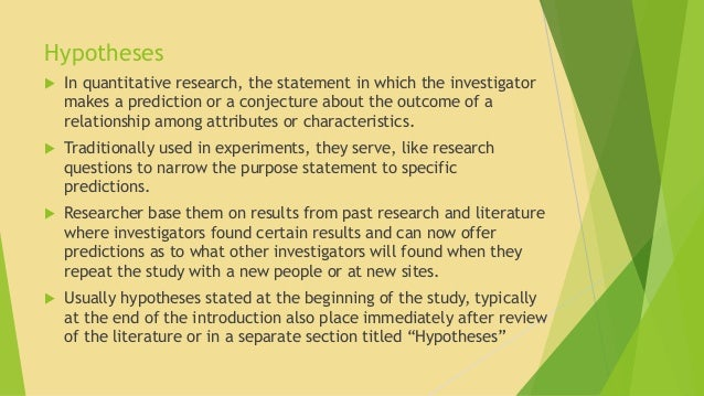 Purpose statement for research