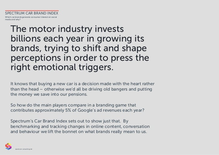 SPECTRUM CAR BRAND INDEXWhich car brands generate consumer interest on socialmedia and why?     The motor industry invests...