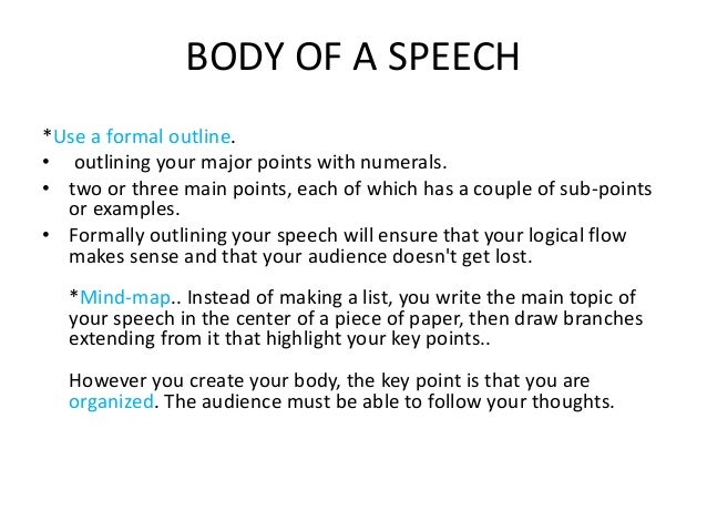 Main points of a speech