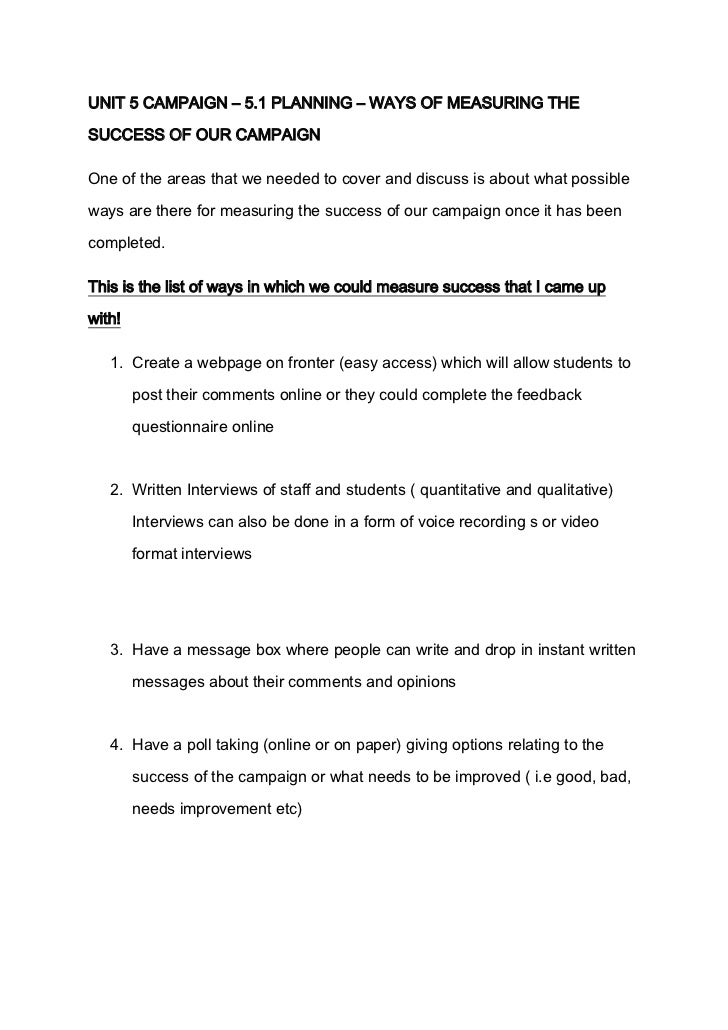 Speech   ways of measuring success