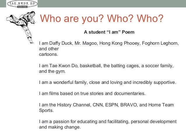 """Who are you? Who? Who? A student """"I am"""" Poem I am Daffy Duck, Mr. Magoo, Hong Kong Phooey, Foghorn Leghorn, and other cart..."""