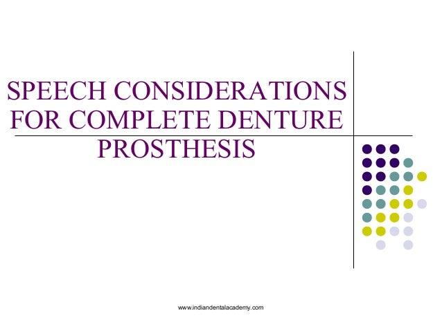Speech considerations for cd/ dentistry dental implants