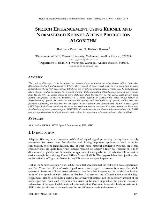 Signal & Image Processing : An International Journal (SIPIJ) Vol.4, No.4, August 2013 DOI : 10.5121/sipij.2013.4411 129 SP...