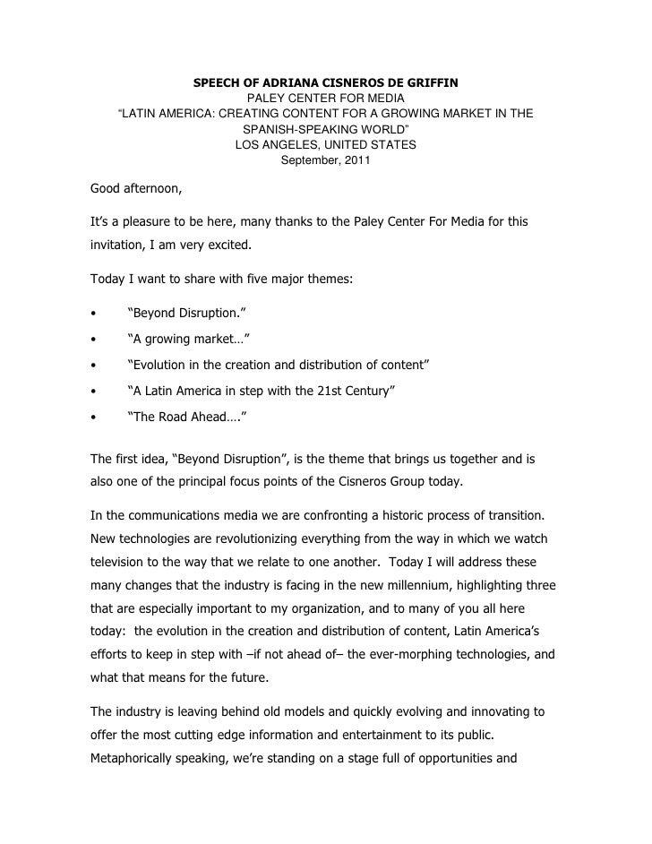 "SPEECH OF ADRIANA CISNEROS DE GRIFFIN                         PALEY CENTER FOR MEDIA     ""LATIN AMERICA: CREATING CONTENT ..."