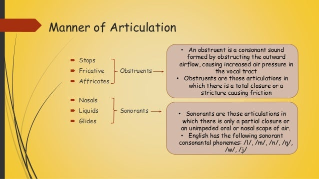 manner of articulation and point of Point of articulation definition is - an immovable or relatively immovable part (as the upper teeth or lower lip) of the vocal tract that a more movable part (as the tongue) approaches or comes into contact with in an articulation.