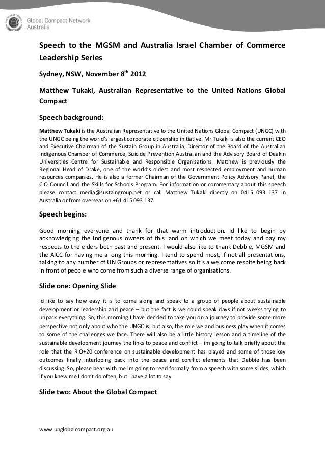 Speech to the MGSM and Australia Israel Chamber of CommerceLeadership SeriesSydney, NSW, November 8th 2012Matthew Tukaki, ...
