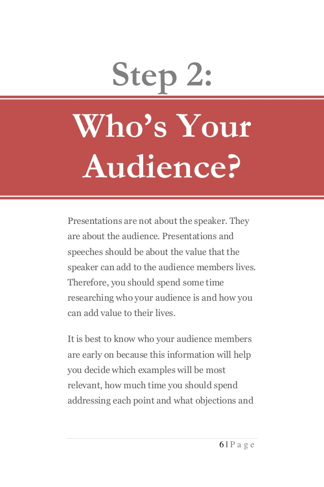 sample audience and persuasive speech step