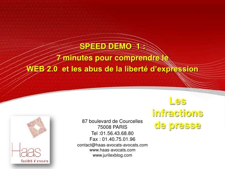 SPEED DEMO  1 : <br />7 minutes pour comprendre le <br />WEB 2.0  et les abus de la liberté d'expression <br />Les infract...