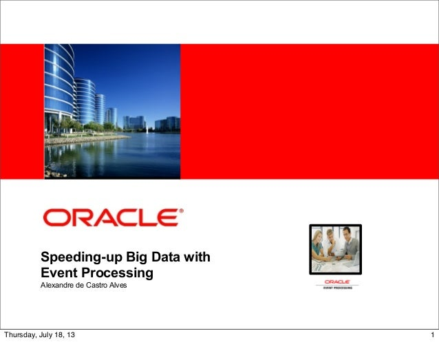 <Insert Picture Here> Speeding-up Big Data with Event Processing Alexandre de Castro Alves 1Thursday, July 18, 13