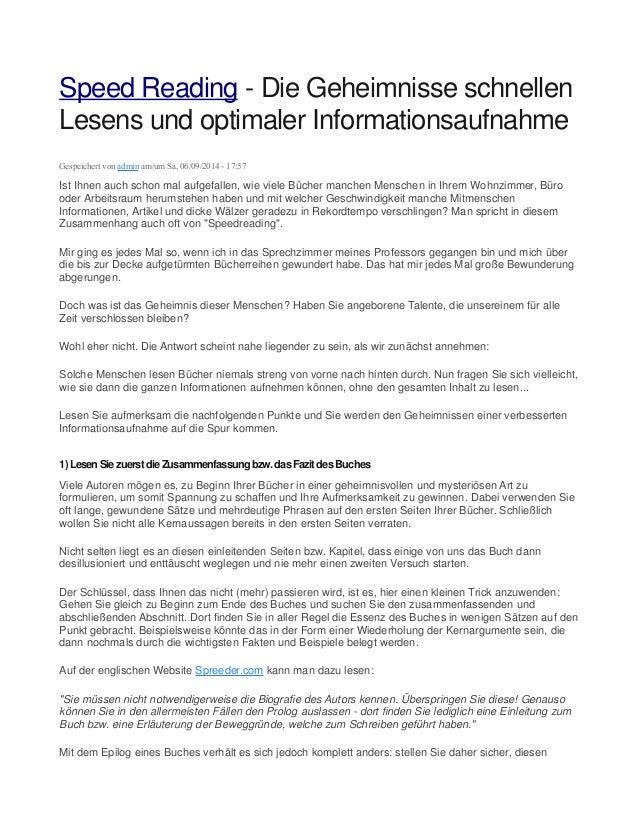 Speed Reading - Die Geheimnisse schnellen  Lesens und optimaler Informationsaufnahme  Gespeichert von admin am/um Sa, 06/0...