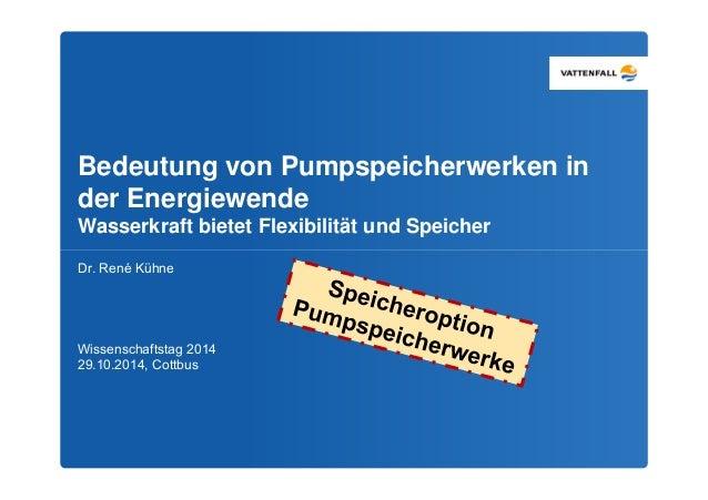 Bedeutung von Pumpspeicherwerken in  der Energiewende  Wasserkraft bietet Flexibilität und Speicher  Dr. René Kühne  Wisse...