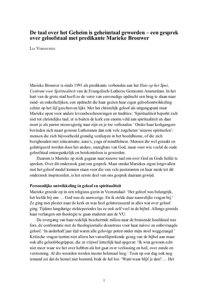 De taal over het Geheim is geheimtaal geworden – een gesprekover geloofstaal met predikante Marieke BrouwerLIA VERGOUWENMa...