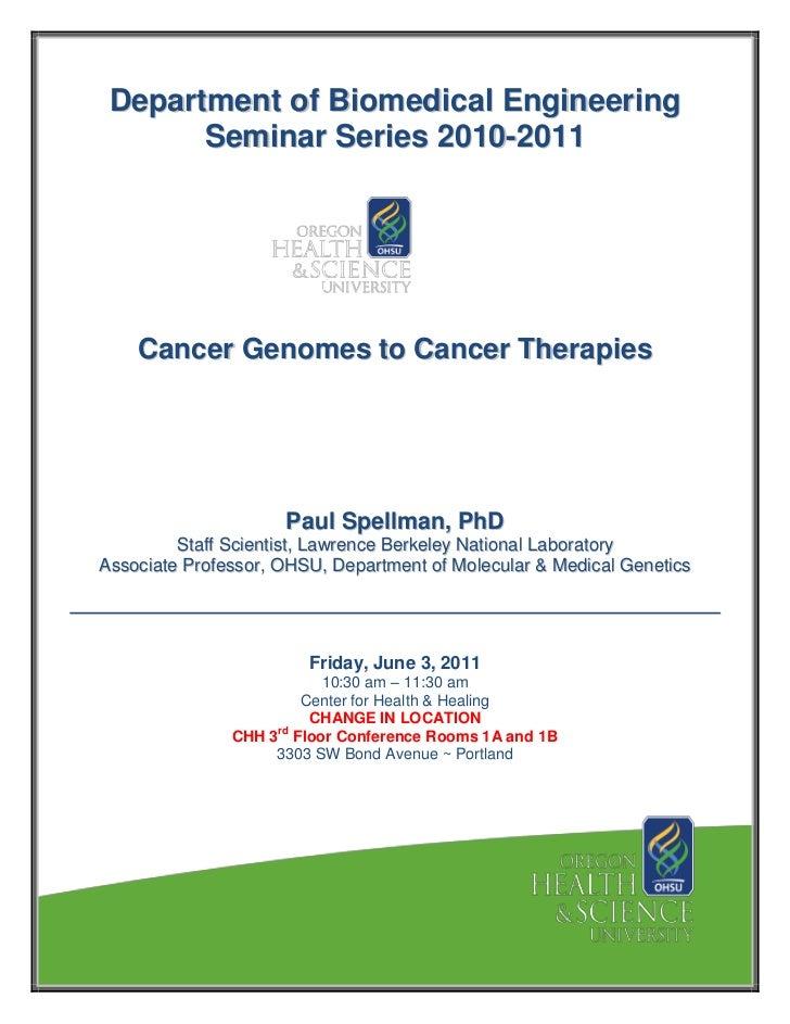 Spellman, Paul   BME seminar 06 03 11