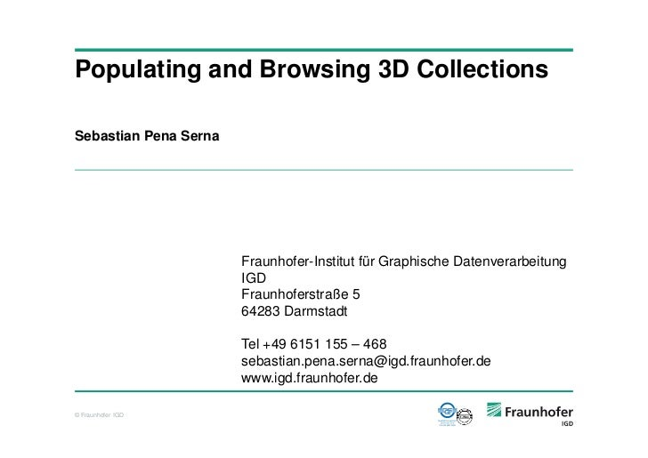 Populating and Browsing 3D Collections