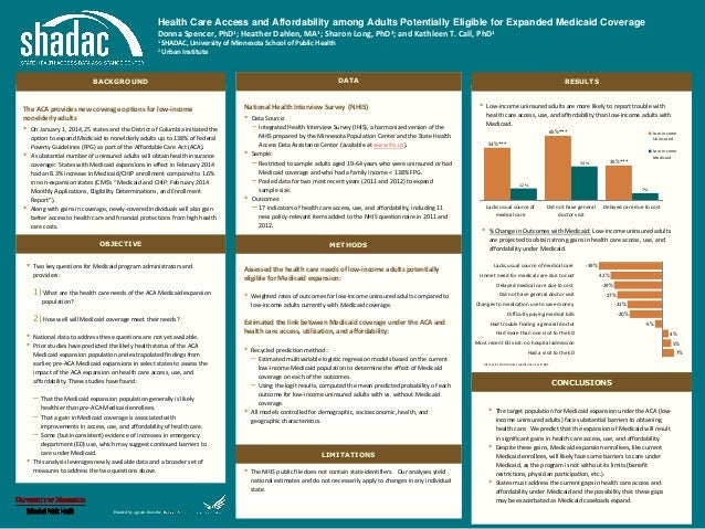 Health Care Access and Affordability among Adults Potentially Eligible for Expanded Medicaid Coverage