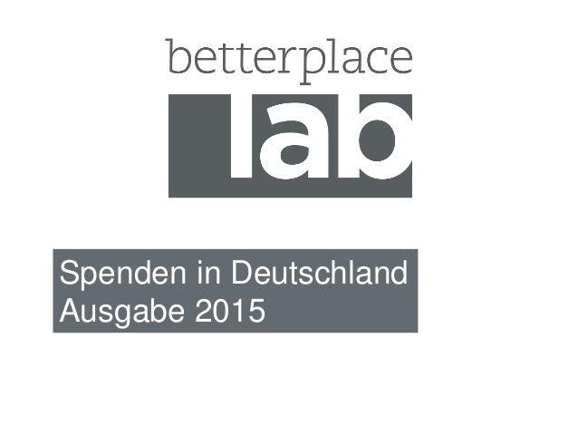 Spenden in Deutschland Ausgabe 2015