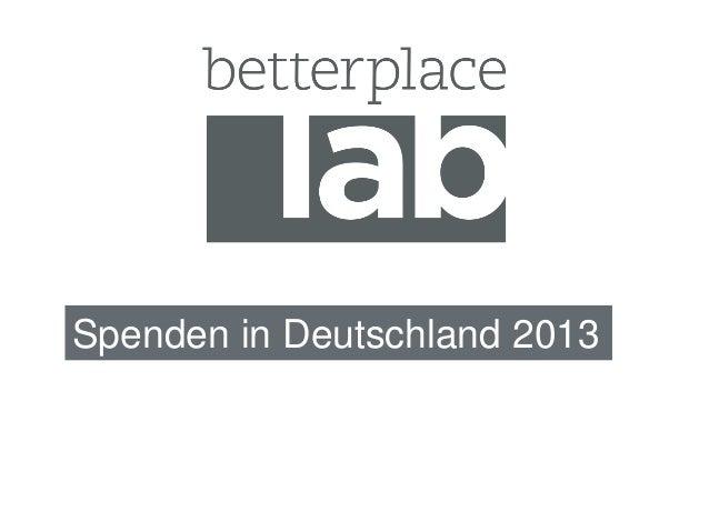 Spenden in Deutschland 2013