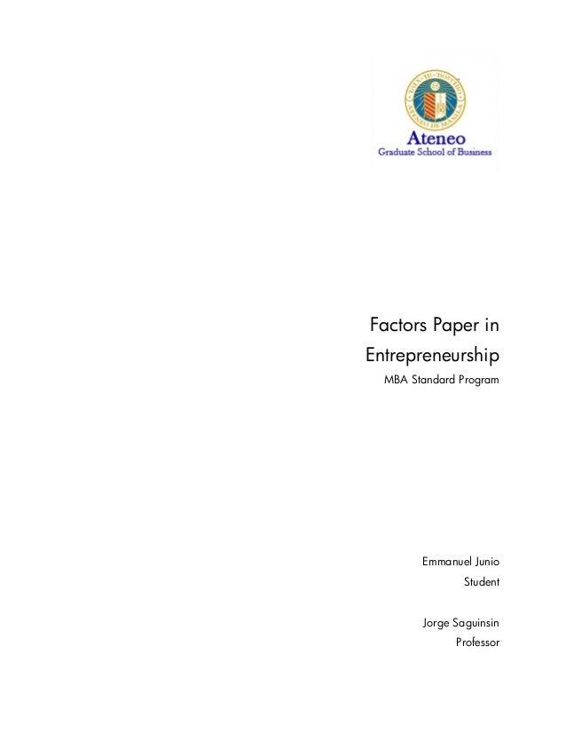 SPENTREP - Factors Paper (Emmanuel Junio) 2013.Sep.09