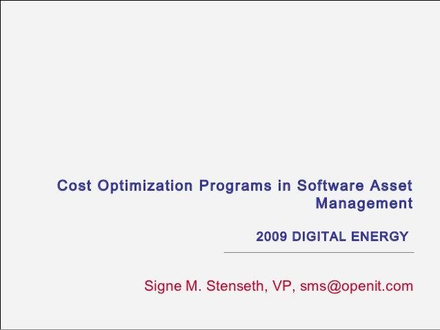 Cost Optimization Programs in Software Asset Management