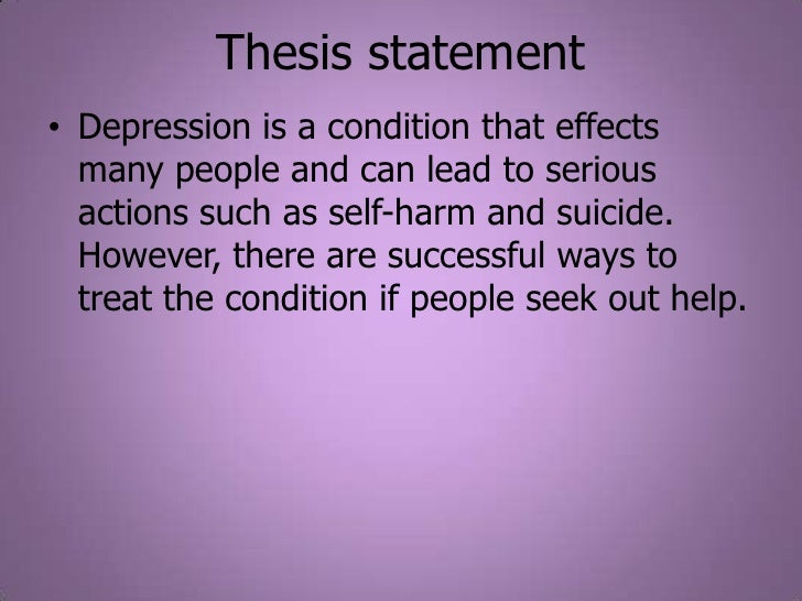 Write my thesis statement on depression
