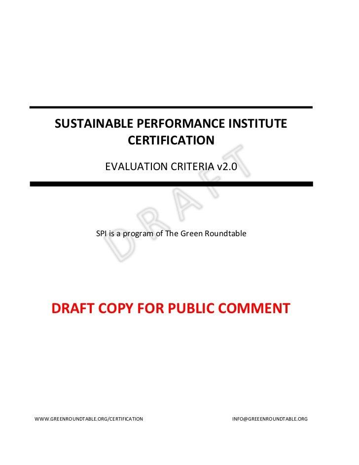 SUSTAINABLE PERFORMANCE INSTITUTE                CERTIFICATION                        EVALUATION CRITERIA v2.0            ...