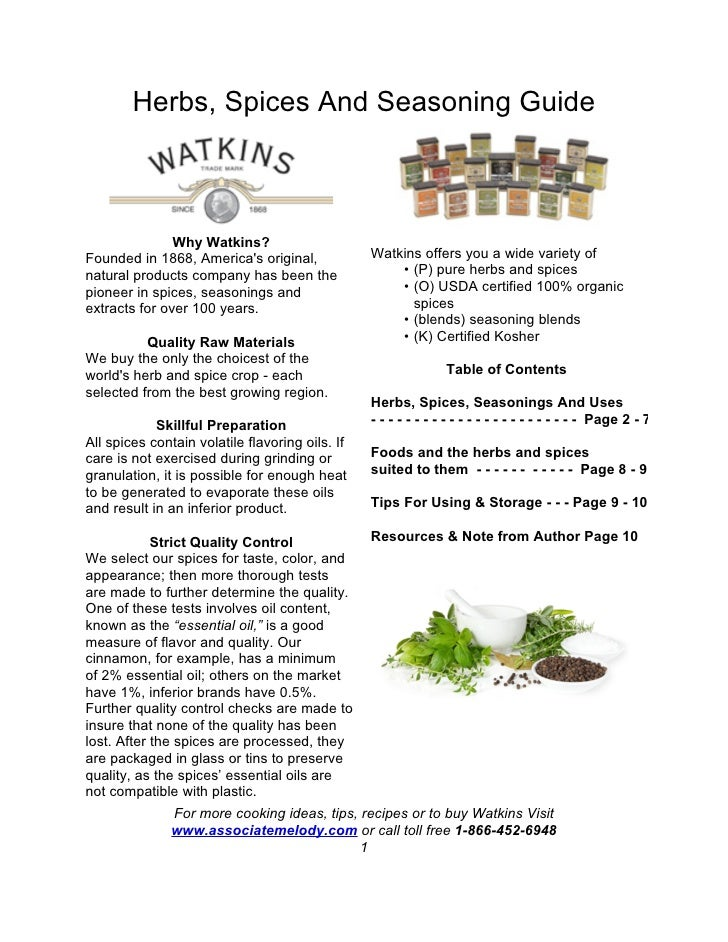 Herbs, Spices And Seasoning Guide                   Why Watkins? Founded in 1868, America's original,             Watkins ...